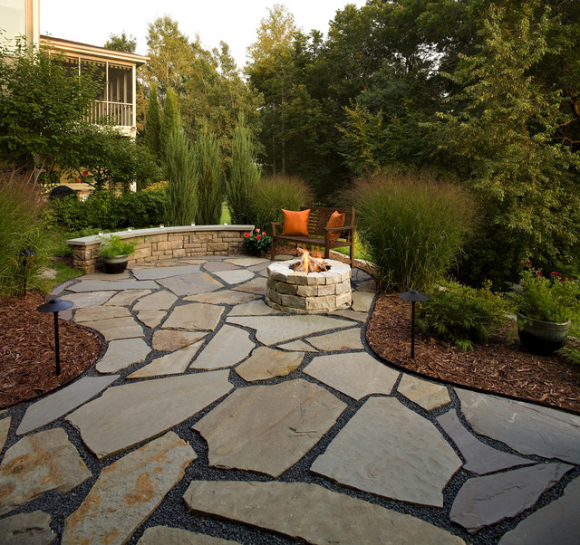 Flagstone Patio and Natural Stone Fire Pit - Traditional - Patio