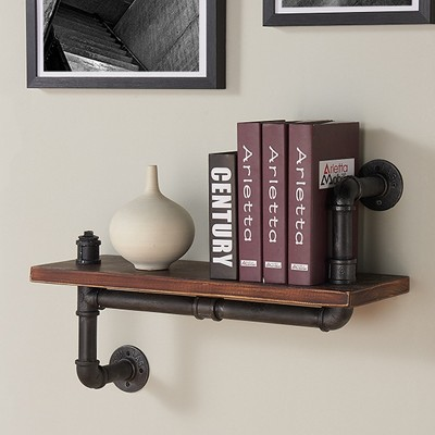 Montana Industrial Pine Wood Floating Wall Shelf 24
