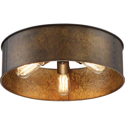 Nuvo Lighting Kettle Weathered Brass Three Light Flush Mount 60/5893