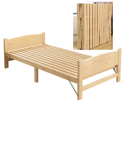 Solid wood folding bed single double bed adult lunch break 1.2 m