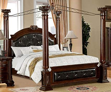 Amazon.com: 247SHOPATHOME IDF-7271Q Four Poster Bed Queen Cherry