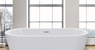 Woodbridge Freestanding Bathtub, 100% Acrylic Bath Tub, High Glossy