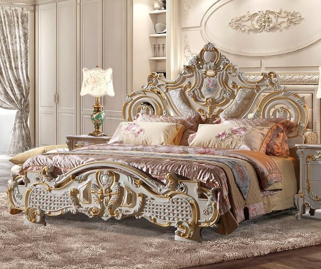 European Style Solid Wood Bed French Furniture, Luxurious Solid Wood