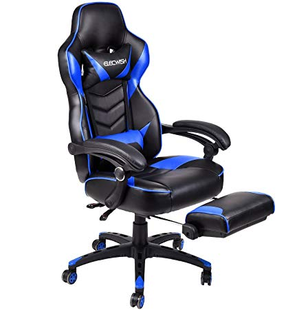 Ergonomic Computer Gaming Chair, Large Size PU Leather High Back Office  Racing Chairs with Widen Thicken Seat and Retractable Footrest and Lumbar