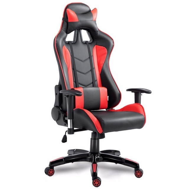 US $117.99 |Goplus High Back Executive Racing Reclining Gaming Chair Swivel  PU Leather Office Computer Chair Ergonomic Game Chairs HW53863-in Office