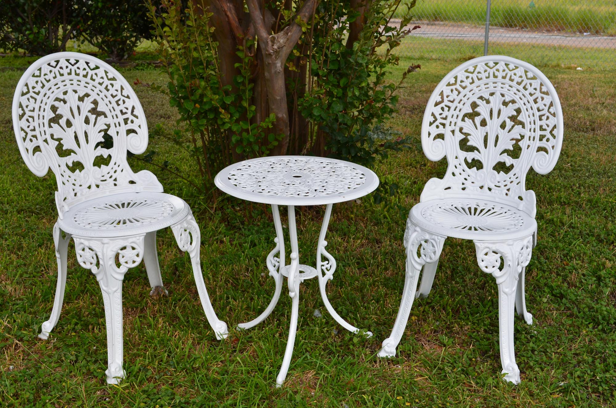 Angel White Garden Bistro Set - Table and Two Chairs for Yard, 3