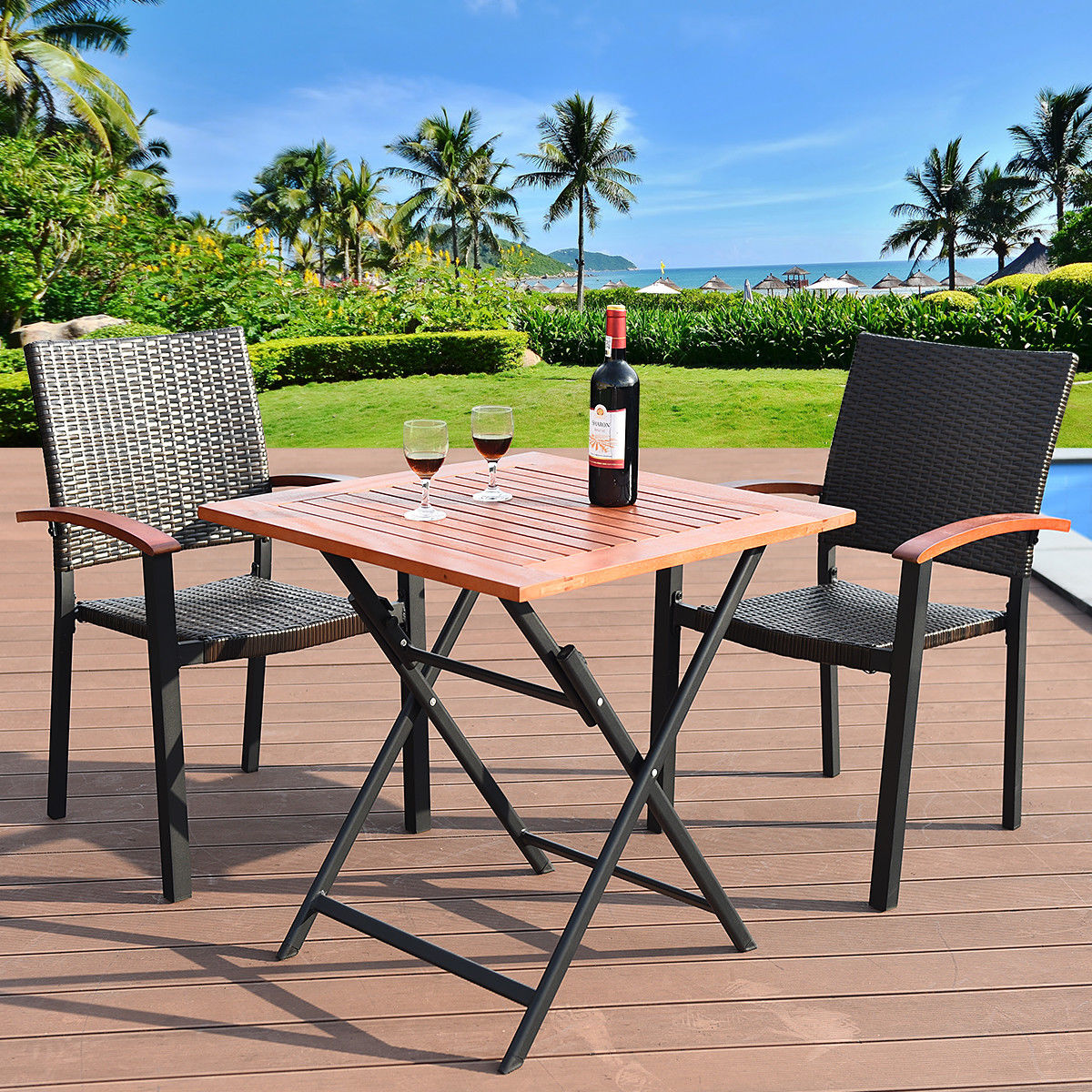 Costway 3PCS Patio Outdoor Garden Dining Set Folding Table Stackable
