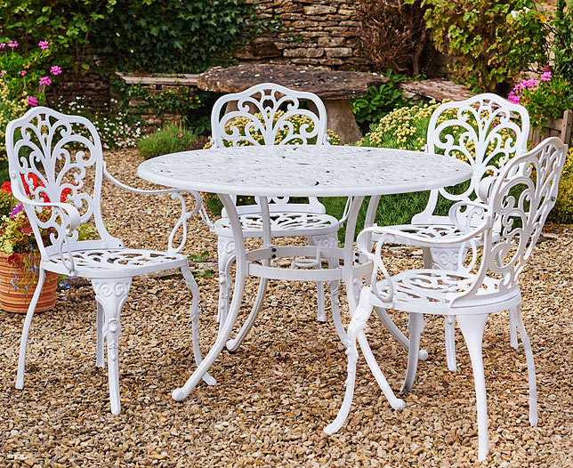 Canterbury Cast Aluminium Garden Table & 4 Chairs | Scotts of Stow
