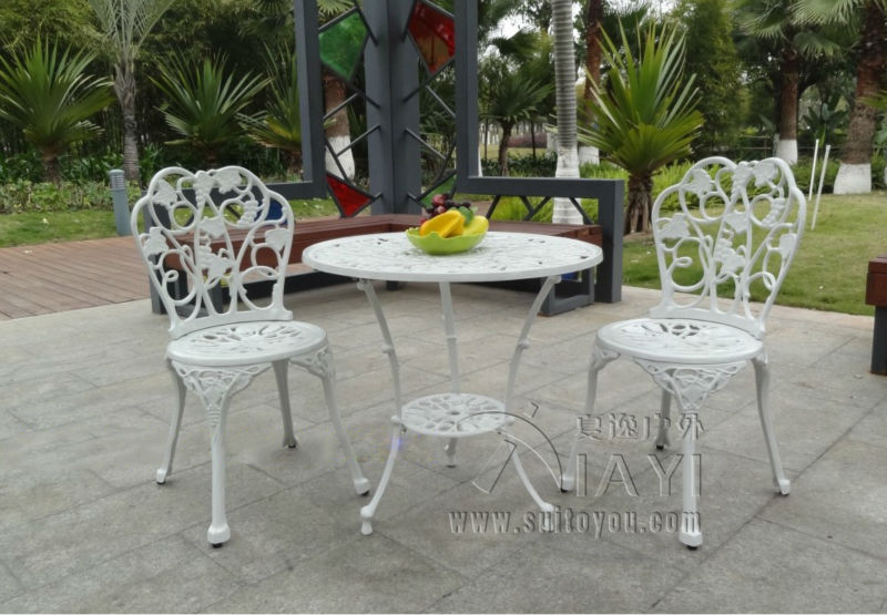 3 piece cast aluminum table and chair patio furniture garden
