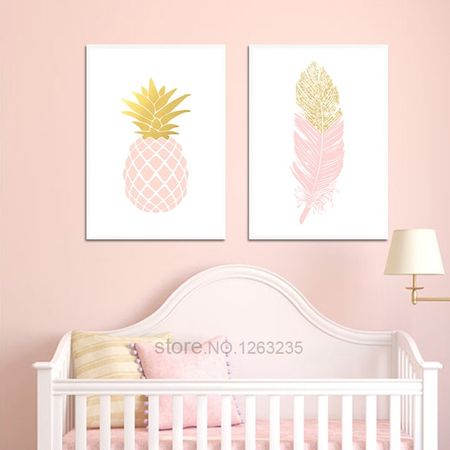 Pink Pineapple Girls Baby Girl Room Decor Picture Wall Art Canvas