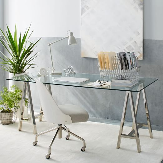 Cross-Base Desk - Polished Nickel | west elm