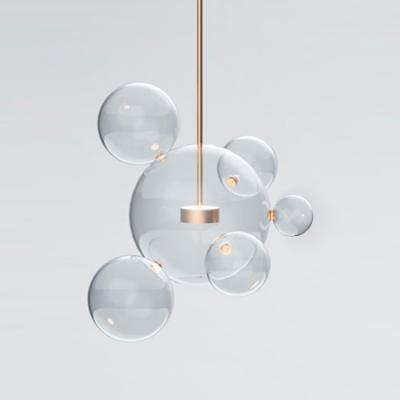 Globe Glass Pendant Lights Brass Stem, 17 Inch - Beautifulhalo.com