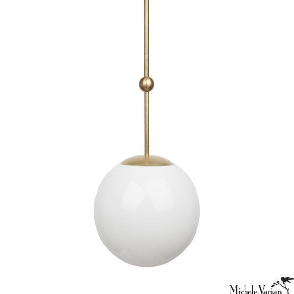 Opal Globe and Ball Pendant Light 10 inch diameter in Brass