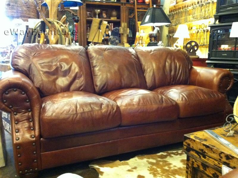 Made in the USA! 100% Top Grain Two-Toned Leather Sofa Living Room