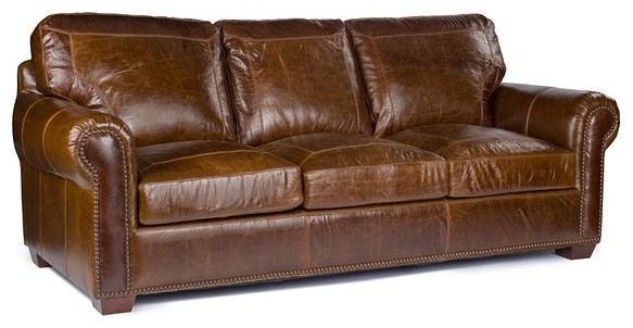 Anchor Bay Collection Top Grain Leather Sofa, Pecan Alligator