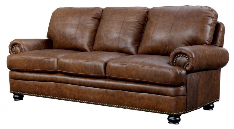 Furniture of America Rheinhardt Top Grain Leather Sofa - Rheinhardt