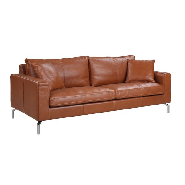 Nyyear Mid Century Modern Plush Top Grain Leather Sofa & Reviews