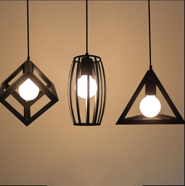 Vintage Pendant Lights LED Lamp Metal Cube Cage Lampshade Lighting