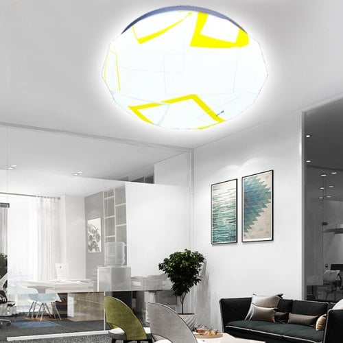 Ultra-thin Geometric Pattern LED Ceiling Light for Home Use - $25.81