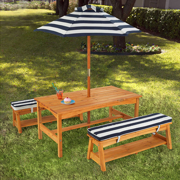 $279.00 Blue and White KidKraft Outdoor Table and Bench Set with