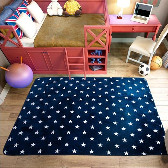Fadfay Navy Blue Modern Kids Rugs Anti slip Kids Bedroom Large