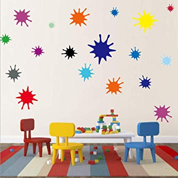 Amazon.com: Kids Wall Decals Primary Color Paint Splash Room Decor