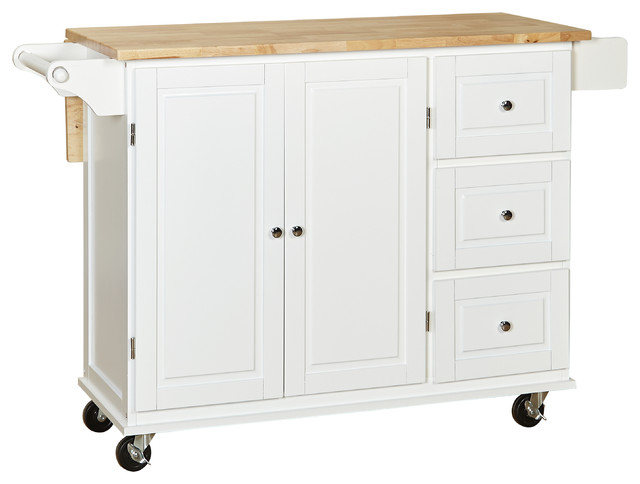Sundance Kitchen Cart With Wood Top - Transitional - Kitchen Islands
