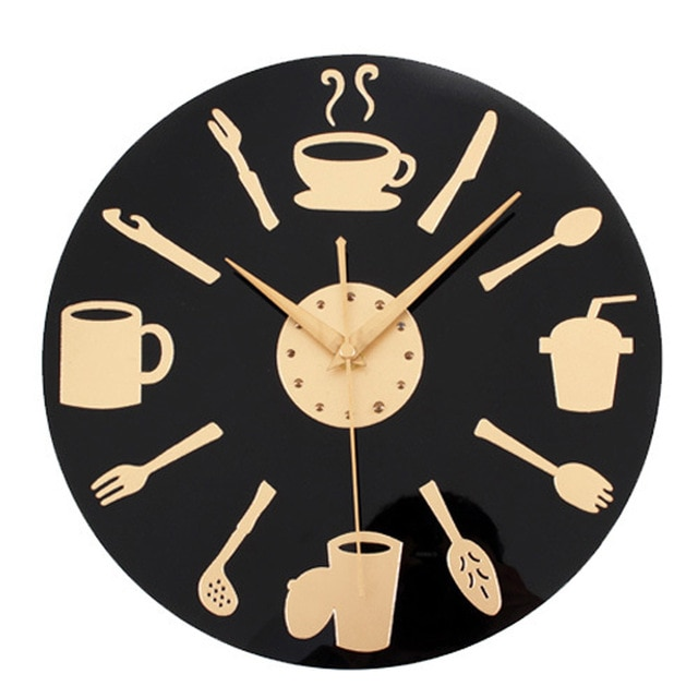 Coffee Time Wall Clock Modern Design Decorative Kitchen Clocks