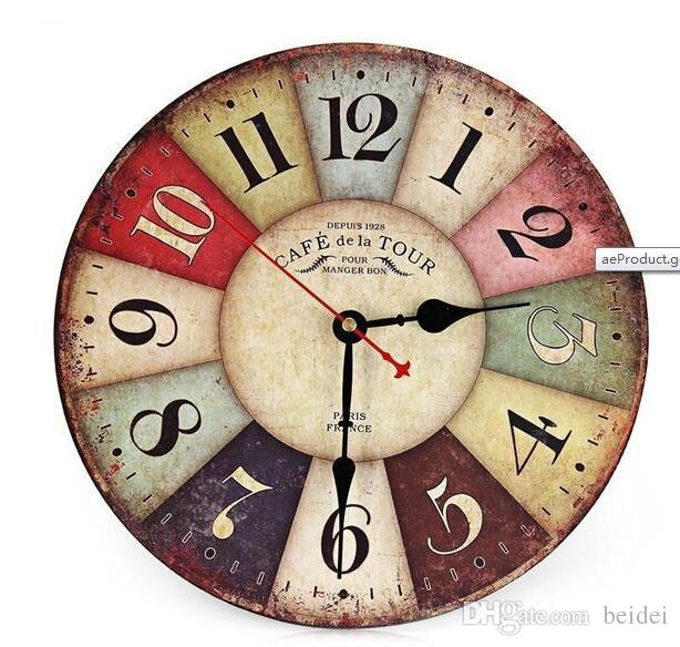 Wholesale Vintage Wooden Wall Clock Shabby Chic Rustic Retro Kitchen