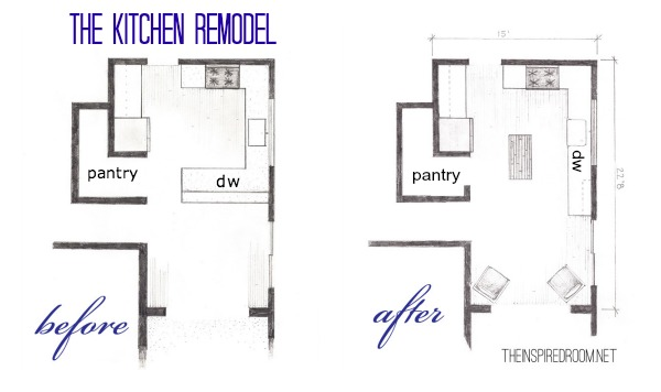 The Kitchen Floor Plans {Before & After Bird's Eye Sketch} - The