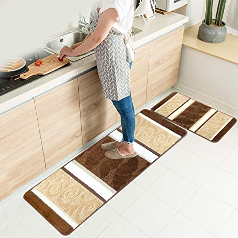 Amazon.com: HEBE Kitchen Rugs Set 2 Piece Non-Slip Kitchen Mats and