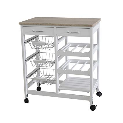 Amazon.com: Home Basics Portable Kitchen Storage Island Trolley Cart