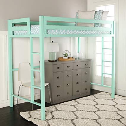 Amazon.com: WE Furniture Premium Twin Metal Loft Bed, Mint: Kitchen