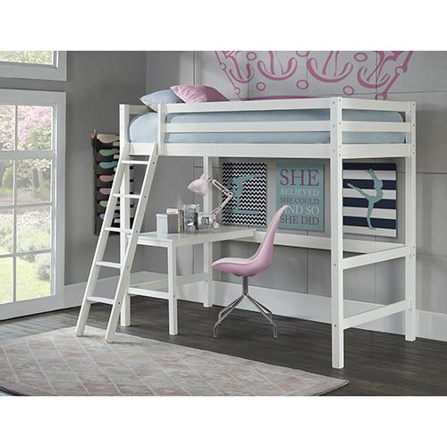 Ne Kids Hillsdale Caspain Twin Study Loft, White 2179 320 | Bellacor