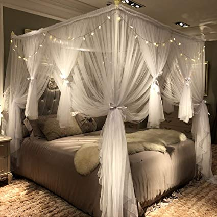 Amazon.com: Joyreap 4 Corners Post Canopy Bed Curtain for Girls