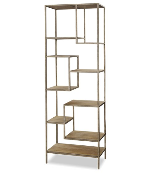 French Modern Industrial Wood + Metal Bookcase Etagere | Zin Home