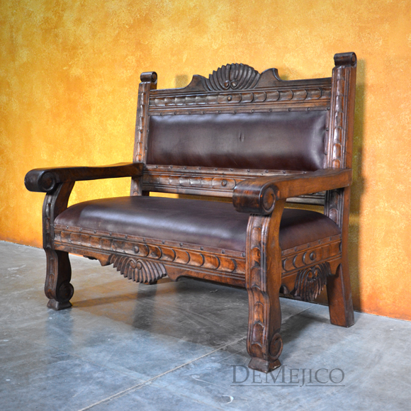 Santa Fe Bench, Carved Benches, Southwest Furniture, Mexican Furniture