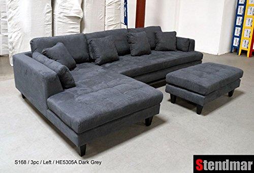 Amazon.com: 3pc Contemporary Dark Grey Microfiber Sectional Sofa Set