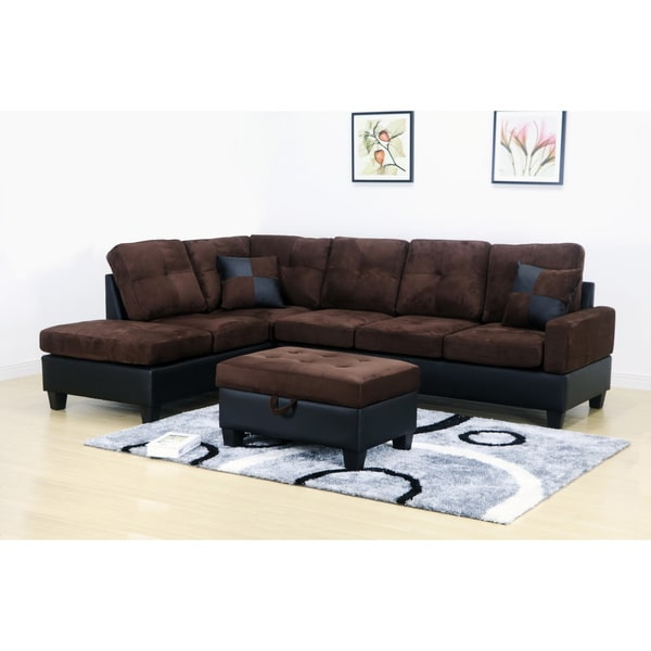 Shop Charlie Dark Brown Microfiber Sectional Sofa and Storage
