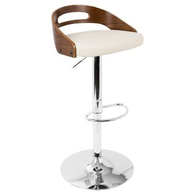 Cassis Mid - Century Modern Adjustable Barstool - Walnut And Cream