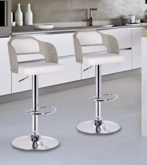 8 White Modern Bar Stools With Low Back - Cute Furniture