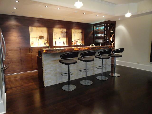 Modern Walnut Basement Bar - Modern - Basement - Atlanta - by