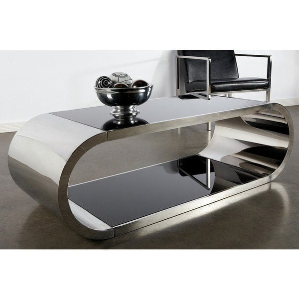 Shop Statements By J Pia Chrome Modern Coffee table, 18 Inch Tall