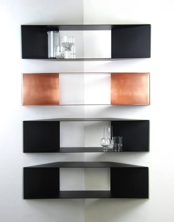 Contemporary Minimal Sculptural Metal Black and Copper Corner