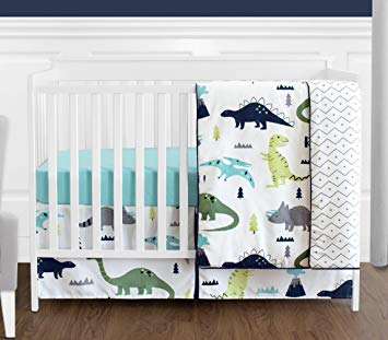 Amazon.com : Navy Blue and Green Modern Dinosaur Baby Boys or Girls