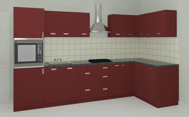 Maroon L shaped Modular Kitchen