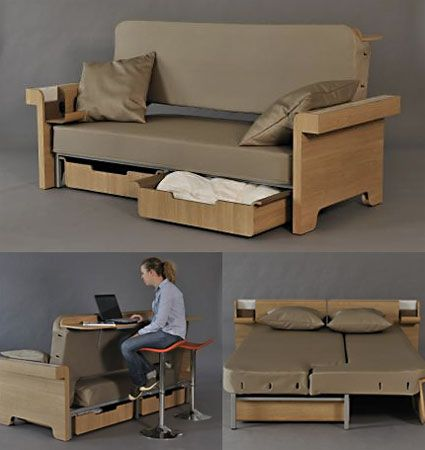 Multipurpose sofa sleeper to   create illusion of a big room