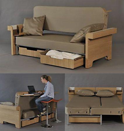 Multipurpose sofa sleeper to   create illusion of a big room