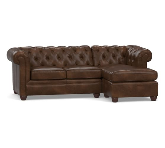 Chesterfield Leather Sofa with Chaise Sectional | Pottery Barn