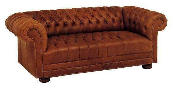 Chesterfield Leather Sofa With Tufted Bench Seat And Nail Trim